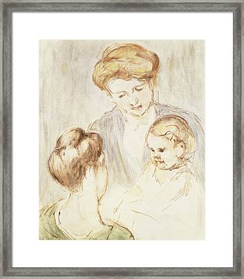 Smiling Baby With Two Girls Framed Print by Mary Stevenson Cassatt