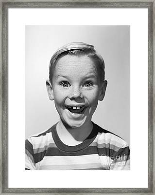 Smiling Boy, C.1950s Framed Print by Debrocke/ClassicStock