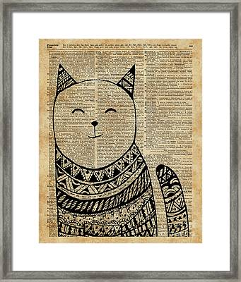 Smiling Cat Pen And Ink Zentagle Dictionary Art Framed Print by Jacob Kuch