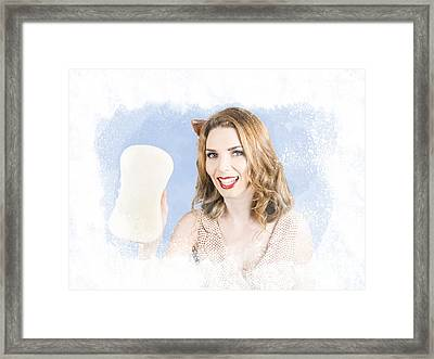 Smiling Cleaning Woman Washing Window With Sponge Framed Print