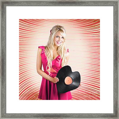 Smiling Dj Woman In Love With Retro Music Framed Print by Jorgo Photography - Wall Art Gallery