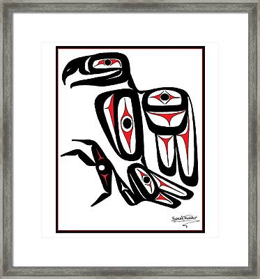 Smiling Eagle Red Framed Print by Speakthunder Berry