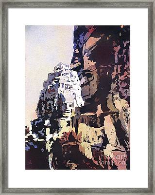 Smiling Faces- Bayon Temple, Cambodia Framed Print by Ryan Fox