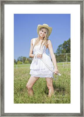 Smiling Female Farmer Framed Print by Jorgo Photography - Wall Art Gallery