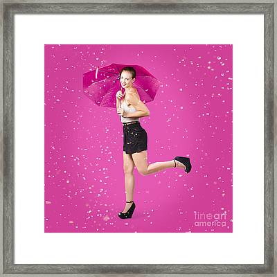 Smiling Female Model Dancing In Falling Rain Framed Print by Jorgo Photography - Wall Art Gallery