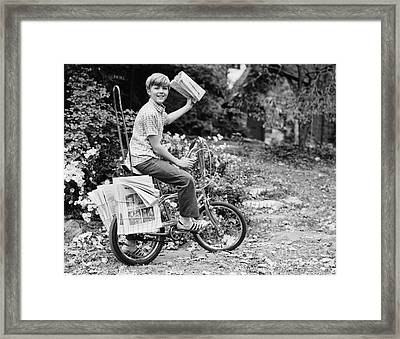 Smiling Newpaper Delivery Boy, C.1970s Framed Print by Photo Media/ClassicStock