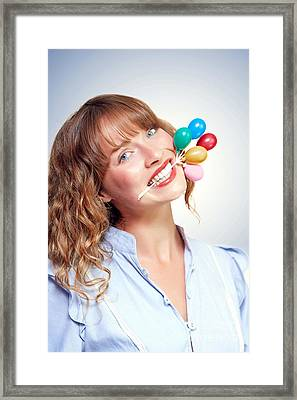 Smiling Party Person With Birthday Balloons Framed Print by Jorgo Photography - Wall Art Gallery