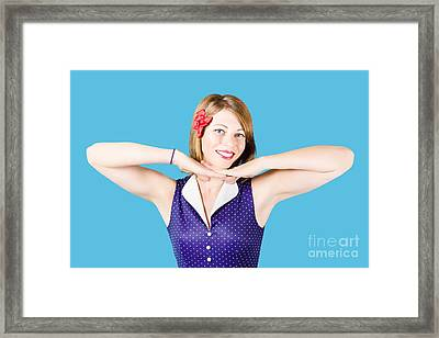 Smiling Retro Woman Showing Lipstick Makeup Framed Print by Jorgo Photography - Wall Art Gallery