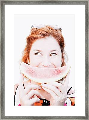 Smiling Summer Snack Framed Print