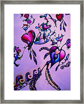 Framed Print featuring the drawing Smiling To Your Heart by Lori Miller