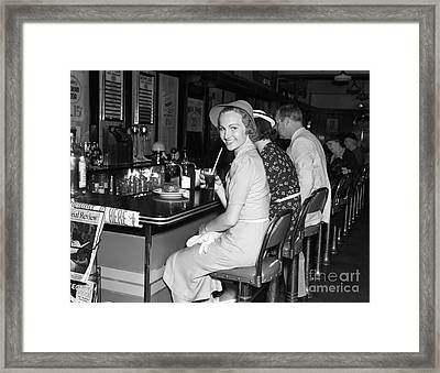 Smiling Woman At Diner, C.1940s Framed Print by H. Armstrong Roberts/ClassicStock