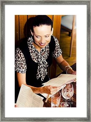 Smiling Woman At Restaurant Framed Print by Jorgo Photography - Wall Art Gallery
