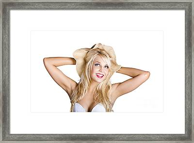 Smiling Woman In Floppy Hat Framed Print by Jorgo Photography - Wall Art Gallery