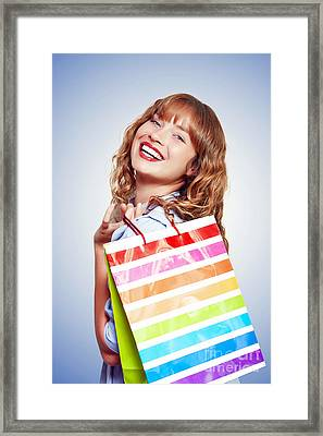 Smiling Woman With Shopping Bag Framed Print by Jorgo Photography - Wall Art Gallery