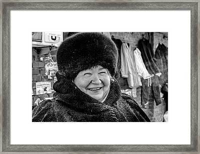 Framed Print featuring the photograph Smiling Woman With Squinting Eyes by John Williams