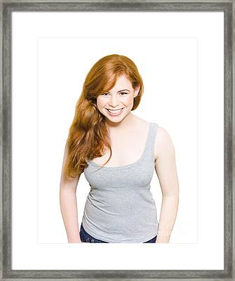 Smiling Young Female With Red Hair Studio Portrait Framed Print by Jorgo Photography - Wall Art Gallery