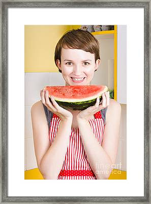 Smiling Young Woman Eating Fresh Fruit Watermelon Framed Print