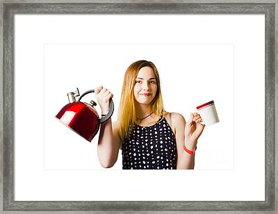 Smiling Young Woman Offering Cuppa Coffee Framed Print