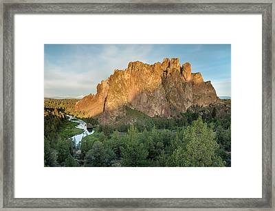 Framed Print featuring the photograph Smith Rock First Light by Greg Nyquist