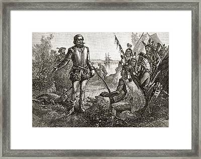 Smith Trading With The Indians. Captain Framed Print by Vintage Design Pics