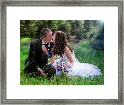 Framed Print featuring the painting Smith Wedding Portrait by Jane Girardot