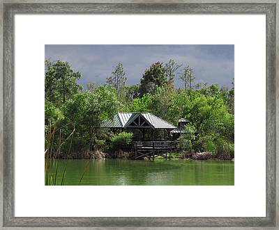 Smoke Clouds And Green Water Framed Print by Rosalie Scanlon