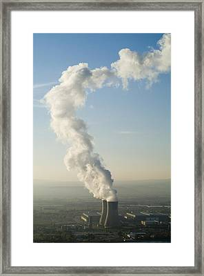 Smoke Emitting From Cooling Towers Of Tricastin Nuclear Power Plant Framed Print by Sami Sarkis
