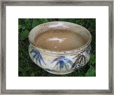 Smoke-fired Bamboo Leaves Bowl Framed Print by Julia Van Dine