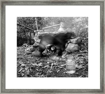 Smoke From Moonshine Still In Black And White Framed Print