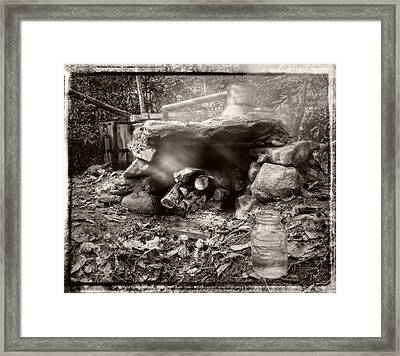 Smoke From Moonshine Still In Black And White With Border Framed Print