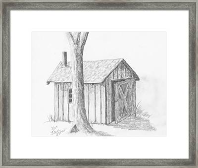 Framed Print featuring the drawing Smoke House by Jack G  Brauer