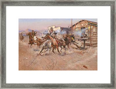 Smoke Of A .45 Framed Print by Charles Marion Russell