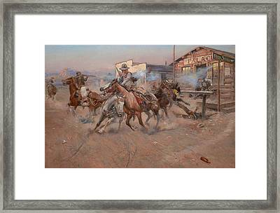 Smoke Of A 45 Framed Print by Charles Russell
