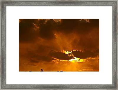 Smoke On The Horizon Framed Print by DigiArt Diaries by Vicky B Fuller