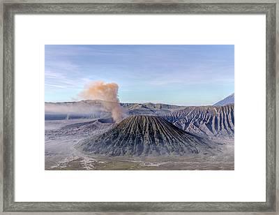 smoke over Mount Bromo - Java Framed Print by Joana Kruse