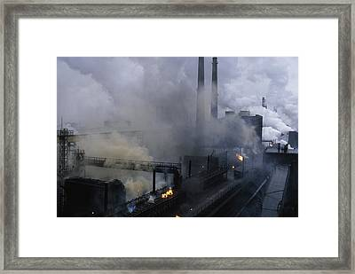 Smoke Spews From The Coke-production Framed Print