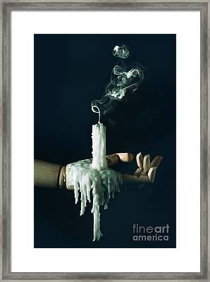 Smoke Trail From Candle Framed Print