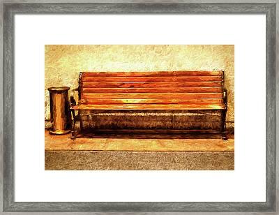 Smoker's Bench Framed Print