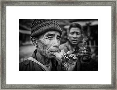 Smokers Framed Print by Franz Sussbauer
