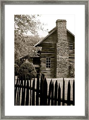 Smokey Mountain Farm Cabin With Picket Fence Framed Print