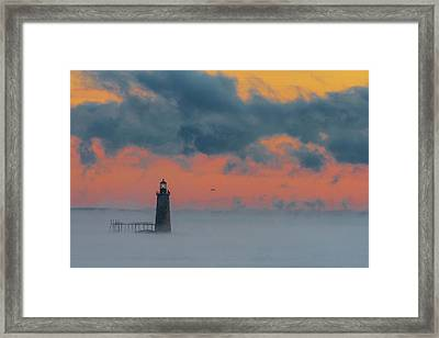 Smokey Sunrise At Ram Island Ledge Light Framed Print