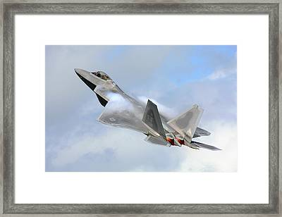 Framed Print featuring the digital art Smokin - F22 Raptor On The Go by Pat Speirs