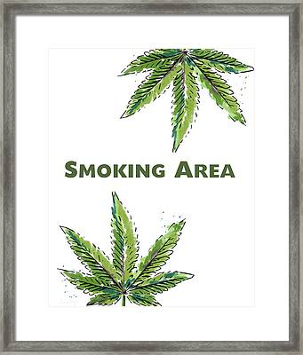 Smoking Area - Art By Linda Woods Framed Print by Linda Woods