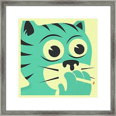 Smoking Cat Framed Print by Jazzberry Blue