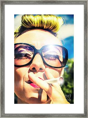 Smoking Hippie Retro Pin Up Girl Framed Print by Jorgo Photography - Wall Art Gallery