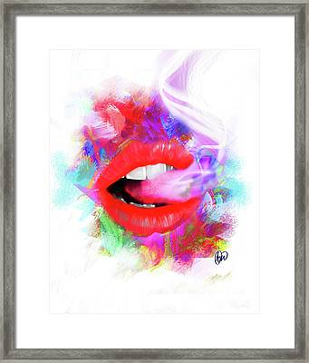 Smoking Lips Framed Print