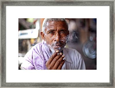 Smoking Framed Print by Massimo Barbarotto