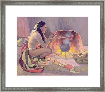 Smoking Pipe Framed Print by Eanger Irving Couse