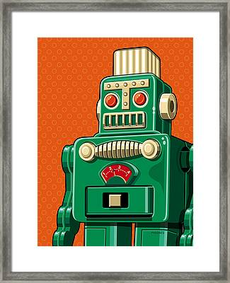 Smoking Robot Framed Print by Ron Magnes
