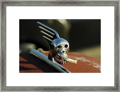 Smoking Skull Hood Ornament Framed Print by Jill Reger